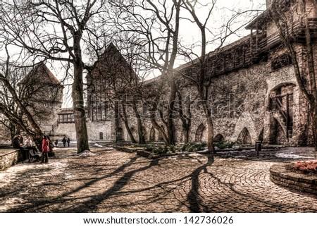 Ancient stone fortress walls in old Tallinn, Estonia - stock photo