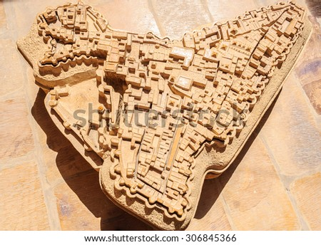 Ancient stone made map of Golden Fort of Jaisalmer, Rajasthan India with copy space - stock photo