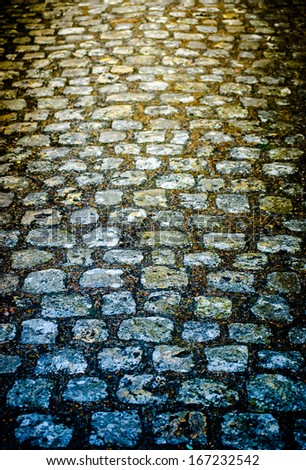 Ancient stone road in Chartres - stock photo