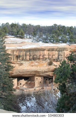 Ancient Stone Ruins at mesa verde national park - stock photo