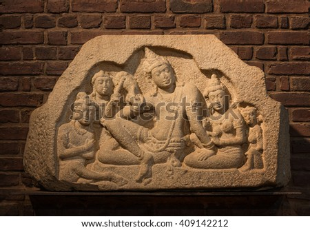Ancient stone sculpture in temple