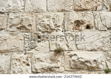 ancient stone wall in Jerusalem - stock photo