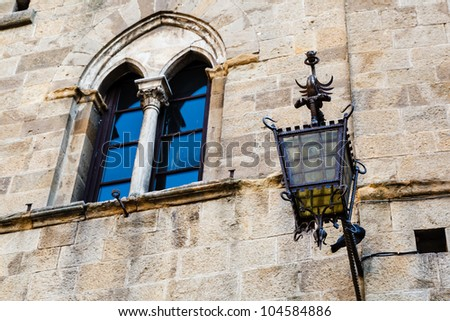 Ancient Streetlight in Priori Square at Volterra  in Tuscany, Italy - stock photo