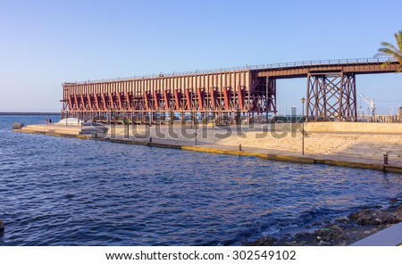 """Ancient structure mining """"The English Cable"""" Cable Ingles on almeria Spain - stock photo"""