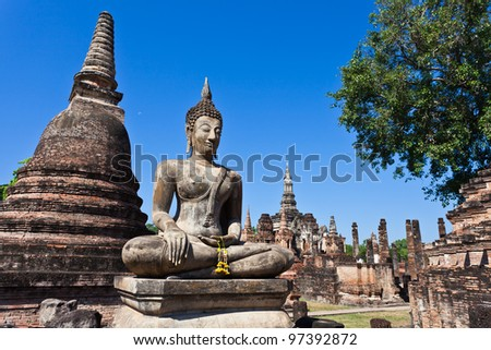 Ancient stupa in Sukhothai Historical Park, Thailand - stock photo