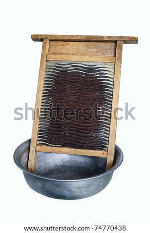 Ancient subjects for manual washing of linen - stock photo