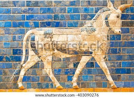 Ancient sumerian tle panel depicting animals - stock photo