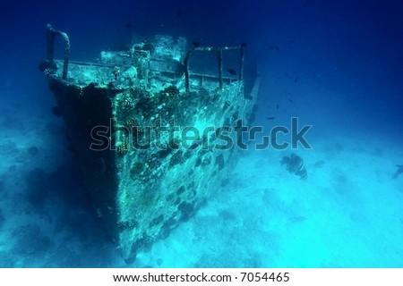 Ancient sunken ship - stock photo