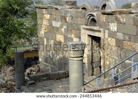 Ancient synagogue Umm el Kanatir in Golan Heights, Israel - stock photo