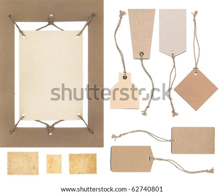 Ancient tag and stamp collection - stock photo