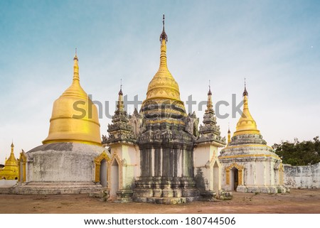 Ancient tample close to Pindaya Cave located next to the town of Pindaya, Shan State, Burma (Myanmar) Famous buddhist pilgrimage site and a tourist attraction. - stock photo