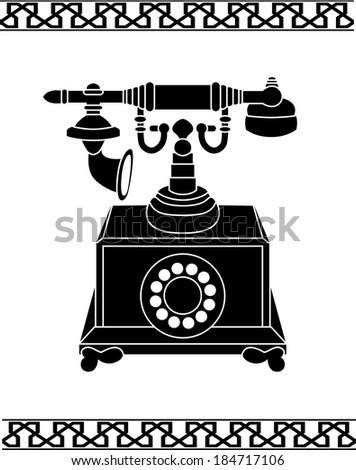 Ancient telephone stencil raster variant - stock photo