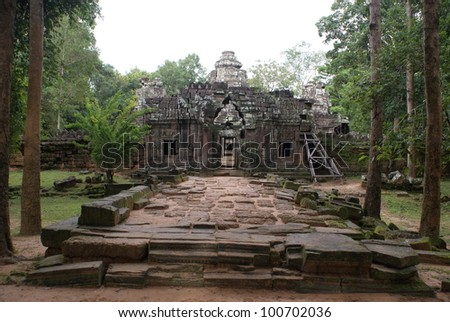 Ancient temple in Angkor, Cambodia - stock photo