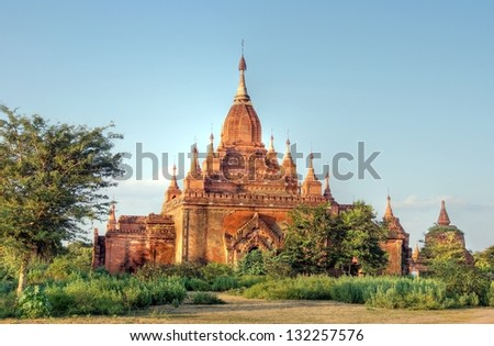 Ancient temple in Bagan , Myanmar - stock photo