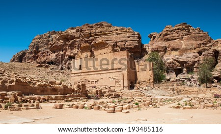 Ancient temple in Petra (Rose City), Jordan. The city of Petra was lost for over 1000 years. Now one of the Seven Wonders of the Word - stock photo