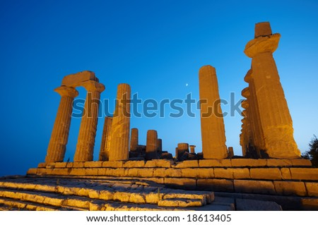 Ancient temple in the valley of the temples in Agrigento, Sicily, Italy - stock photo