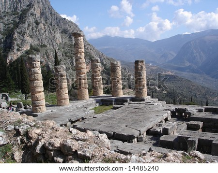 Ancient Temple of Apollo in Delphi, Greece - stock photo