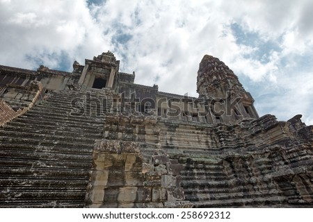 ancient temple of Khmer civilization in a sunny day