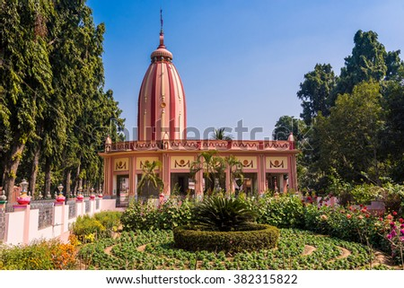 Ancient temple of Lord Krishna at Iscon Mayapur, West Bengal, India. - stock photo