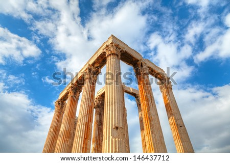 ancient Temple of Olympian Zeus , Athens, Greece  - stock photo