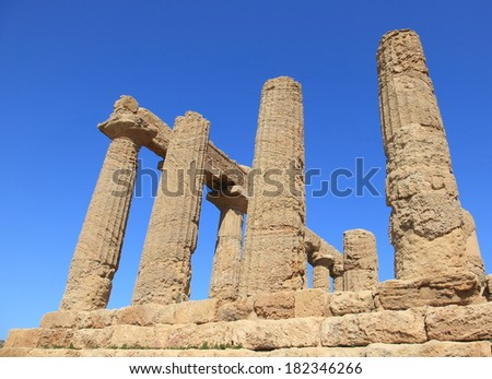 ancient temple ruins of Agrigento, unesco world heritage in Sicily, Italy - stock photo