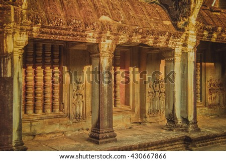 Ancient temples of Ta Prohm Temple, Cambodia. Angkor Wat.Vintage colors - stock photo