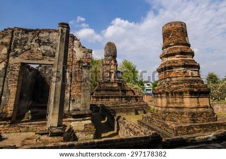 Ancient Thai Buddhist Name Wat Phra Sri Rattana Mahathat in Lop Buri,Thailand - stock photo