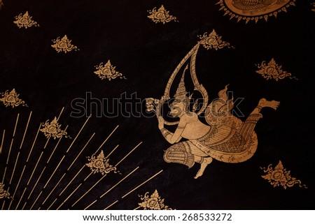 Ancient Thai pattern on wall in Thailand Buddha Temple , Asian Buddha style art, Beautiful pattern on temple wall. - stock photo