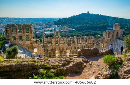 Ancient theater in a summer day in Acropolis Greece, Athens - stock photo