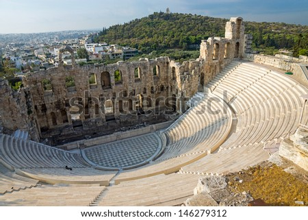 Ancient theater in Athens - stock photo