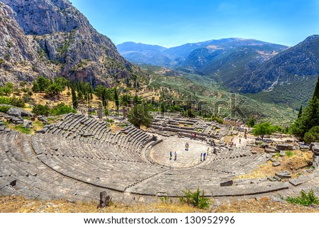 Ancient Theater in Delphi, Greece - stock photo