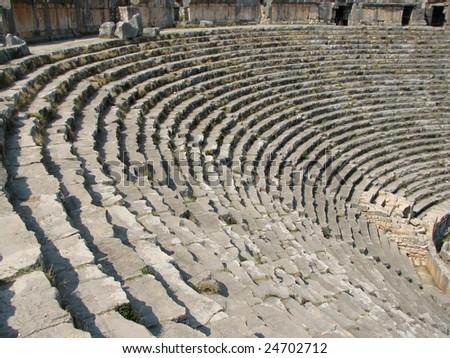 Ancient theater ruins in Myra, Turkey - stock photo
