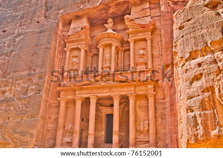 Ancient tombs, temples and dwellings carved into bare rock in Petra, Jordan