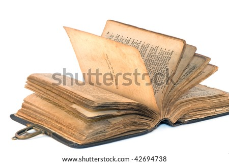 ancient  torah  over white background - stock photo
