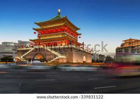 ancient tower at dusk in xian city wall ,China - stock photo
