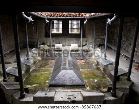 Ancient town cloth washing place in Leitza, Navarra, Spain