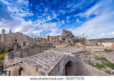 Ancient town of Matera (Sassi di Matera) on a beautiful summer day, Basilicata, southern Italy.