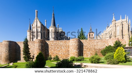 Ancient town walls,  Cathedral and Episcopal Palace of Astorga in summer.  Castile and Leon, Spain