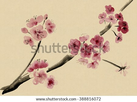 Ancient Traditional Artistic plum blossom and fractals - stock photo