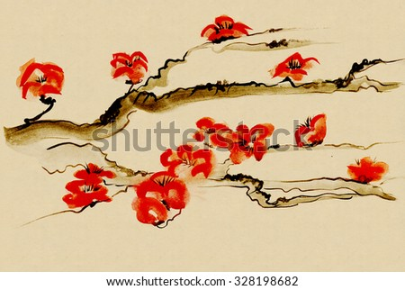 Ancient Traditional Artistic plum blossomm - stock photo