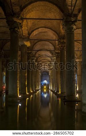 Ancient, underground water reservoir - stock photo