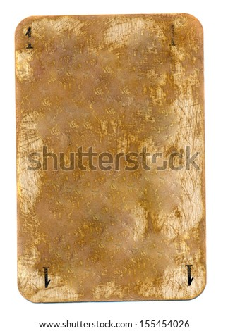 ancient used playing card paper empty grunge background with number one isolated on white