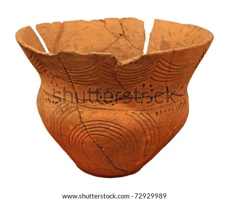 Ancient vase on a white background - stock photo