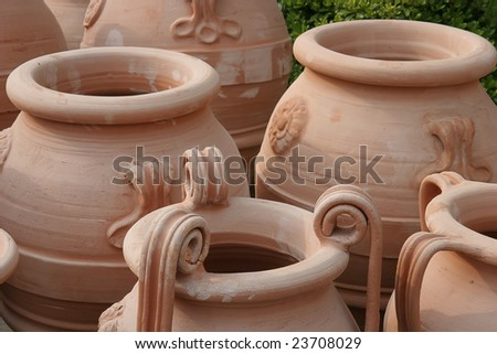 Ancient vases, seen in Historic Olympia - stock photo