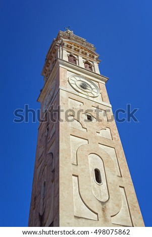 Ancient venetian Santa Maria Formosa church belfry, built in a beautiful baroque style