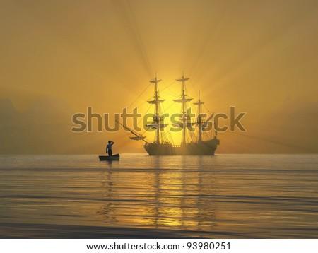 ancient vessel at sunrise - stock photo