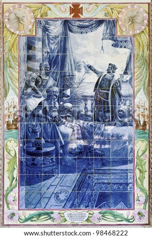Ancient vintage azulejos picture in the Bussaco Palace - Portugal - stock photo