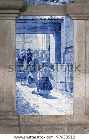 Ancient vintage azulejos picture in the old railway station Porto - Portugal - stock photo
