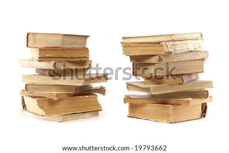 Ancient vintage books isolated on white background