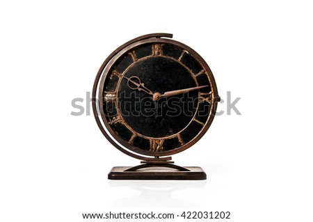 ancient vintage old rusty clock with roman numeral - stock photo